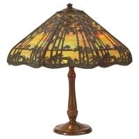 43: Handel table lamp, slag glass : Lot 43