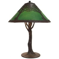 Handel lamp green chipped-ice shade : Lot 354