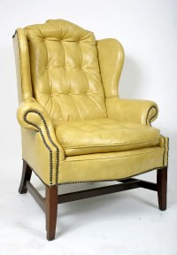 248: YELLOW LEATHER WING CHAIR : Lot 248