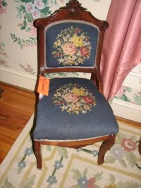 8009: ANTIQUE CHAIR WITH EMBROIDERED SEAT AND BACK : Lot 8009