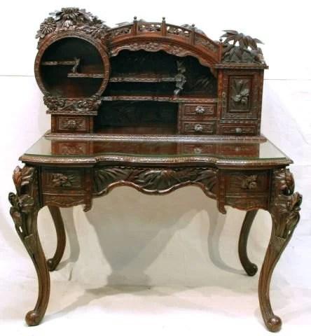 555 Antique Pierce Carved Oriental Desk  Lot 555