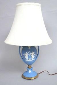 298A: Wedgwood Style Blue Jasperware Lamp : Lot 298A