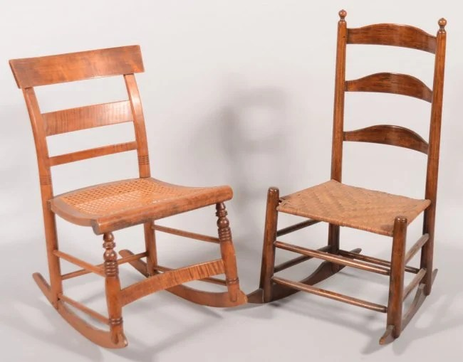 549 Two Armless Rocking Chairs A ladder back with thr