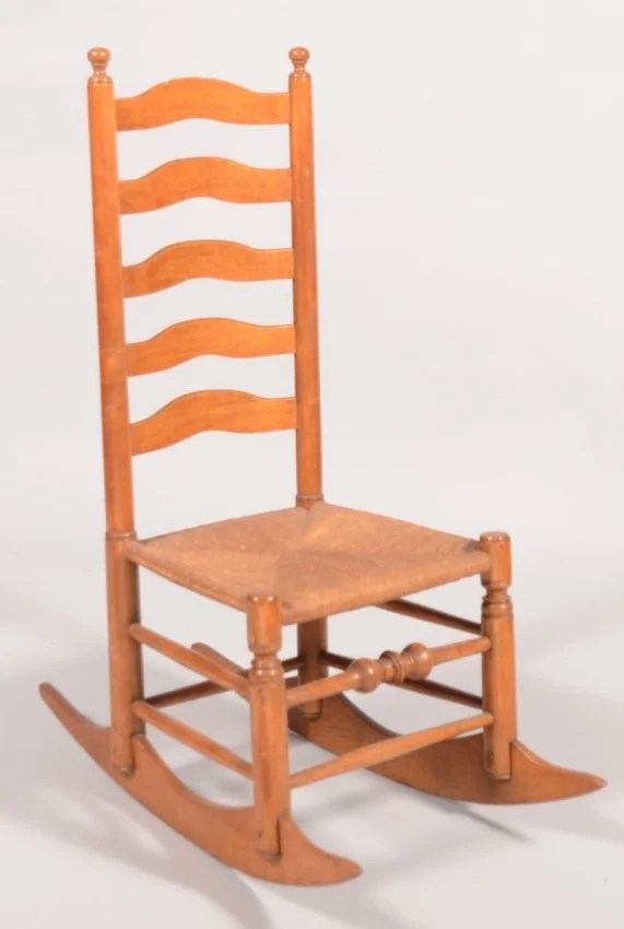 Maple Ladderback Armless Rocking Chair Five bow carved