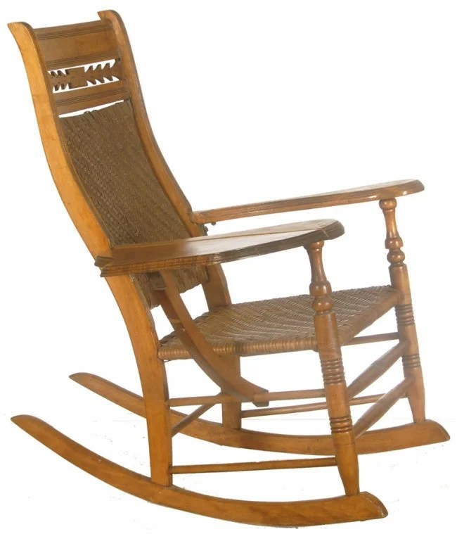 41 WICKER AND LIGHT OAK ROCKING CHAIR WITH COLLAPSIBLE