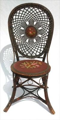 212: antique fancy Victorian wicker side chair w needle ...
