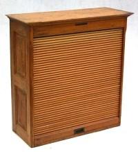 280: antique oak roll front cabinet labeled Library Bur ...