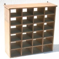 35: ca 1880's salmon painted cubby hole hanging shelf ...