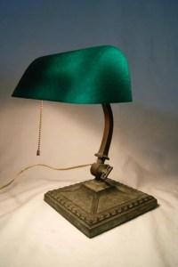 """21: """"Amronlite"""" desk lamp 1910 orig. green cased glass ..."""