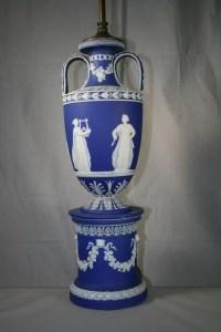 441: Blue Wedgwood Jasperware Lamp : Lot 441