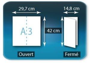 Dépliants / Plaquettes ouvert A3 297x420mm - fermé 148x420mm plié 1 pli type de pliage