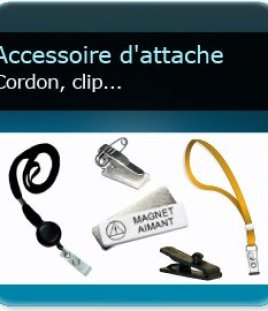 impression  Cordon ou enrouleur ou clip d'attache pour badge ou carte plastique