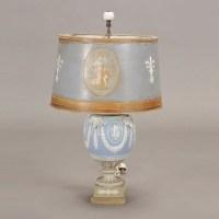 764: Wedgwood Blue Jasperware Lamp : Lot 764