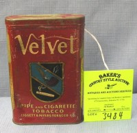 Antique Velvet pipe and cigarette tobacco tin : Lot 3484