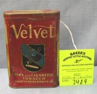 Antique Velvet pipe and cigarette tobacco tin : Lot 3484