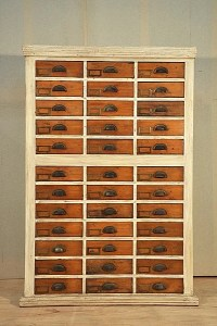 599: ANTIQUE WOOD FILE CABINET C.1900 60 DRAWERS : Lot 599