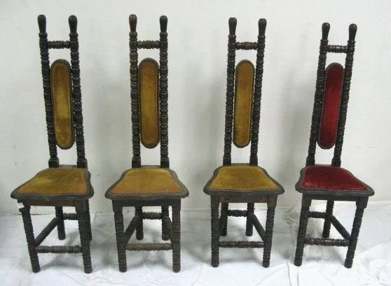 1297 SET OF 4 TURNED OAK NARROW BACK CHAIRS 47 14 IN