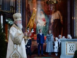 """Slujirea Patriarhului de sărbătoarea Nașterii Domnului în catedrala """"Hristos Mântuitorul"""", or. Moscova"""