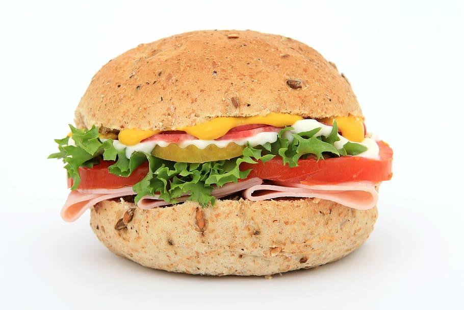 漢堡包, 起司, 蔬菜, 面包, 棕色, 包子, 卡路里, 特寫, 免版稅, CC0, 公共領域 | Piqsels