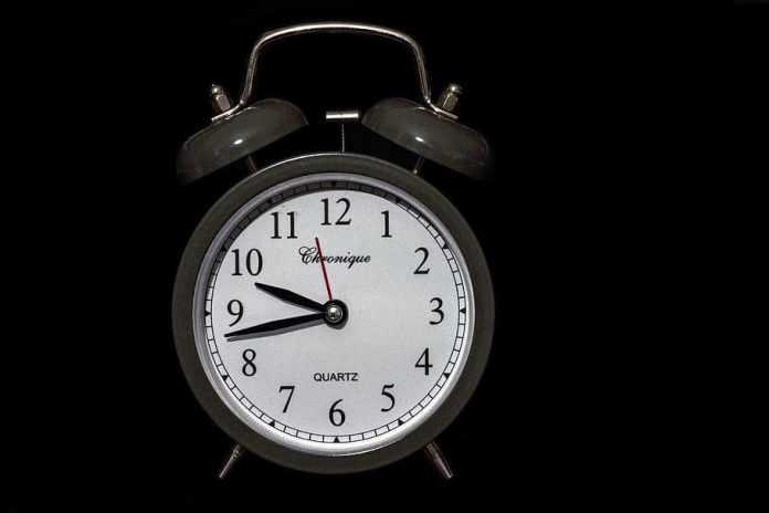 gris, blanco, 10:43, reloj, campana, marcar, hora, despertador ...
