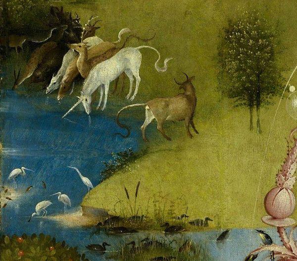 Détail du panneau gauche du Jardin des délices de Jérôme Bosch 1503-1504
