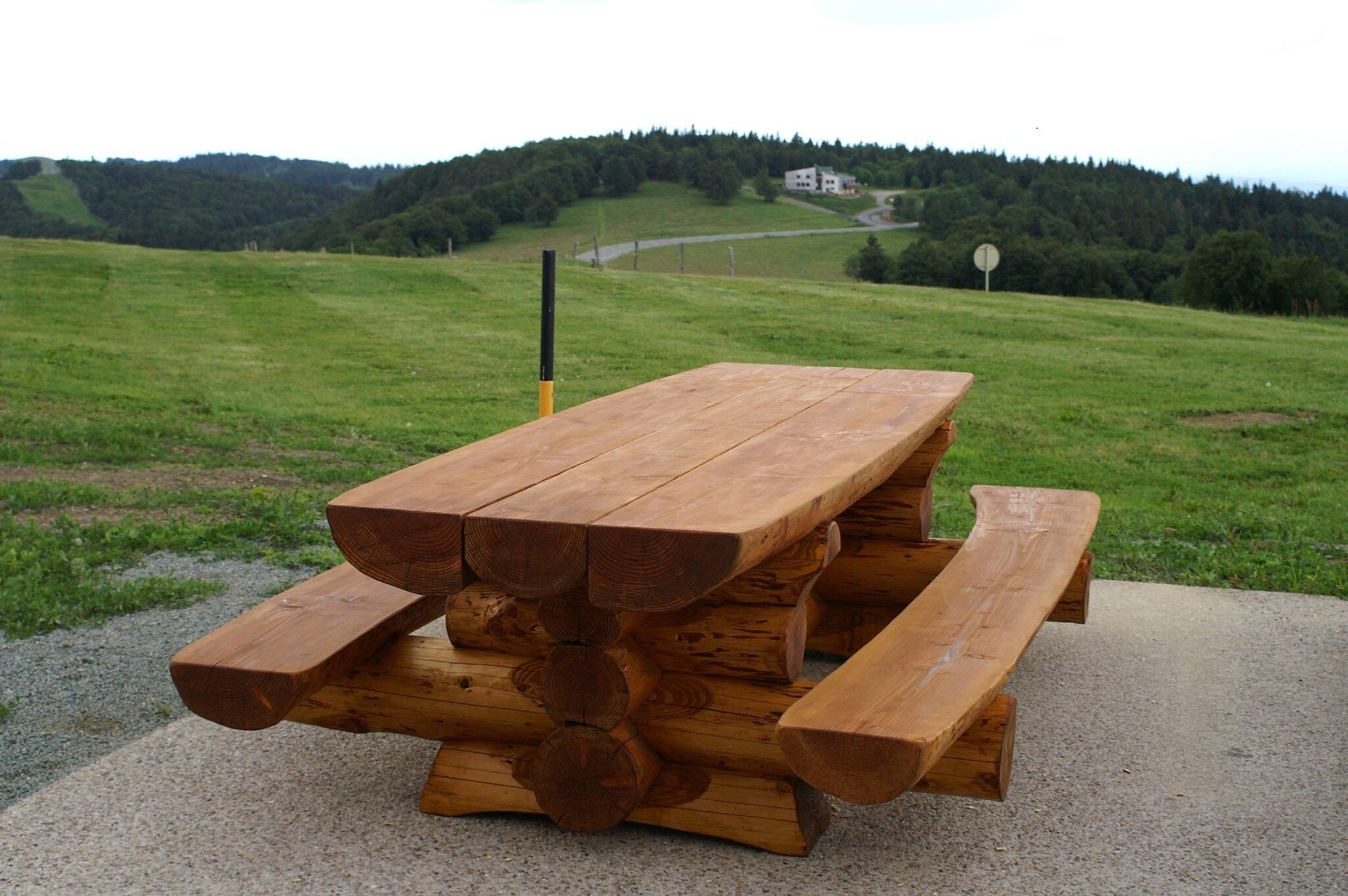 Table De Jardin En Bois Ronde Avec Banc Table Bois Banc Elegant