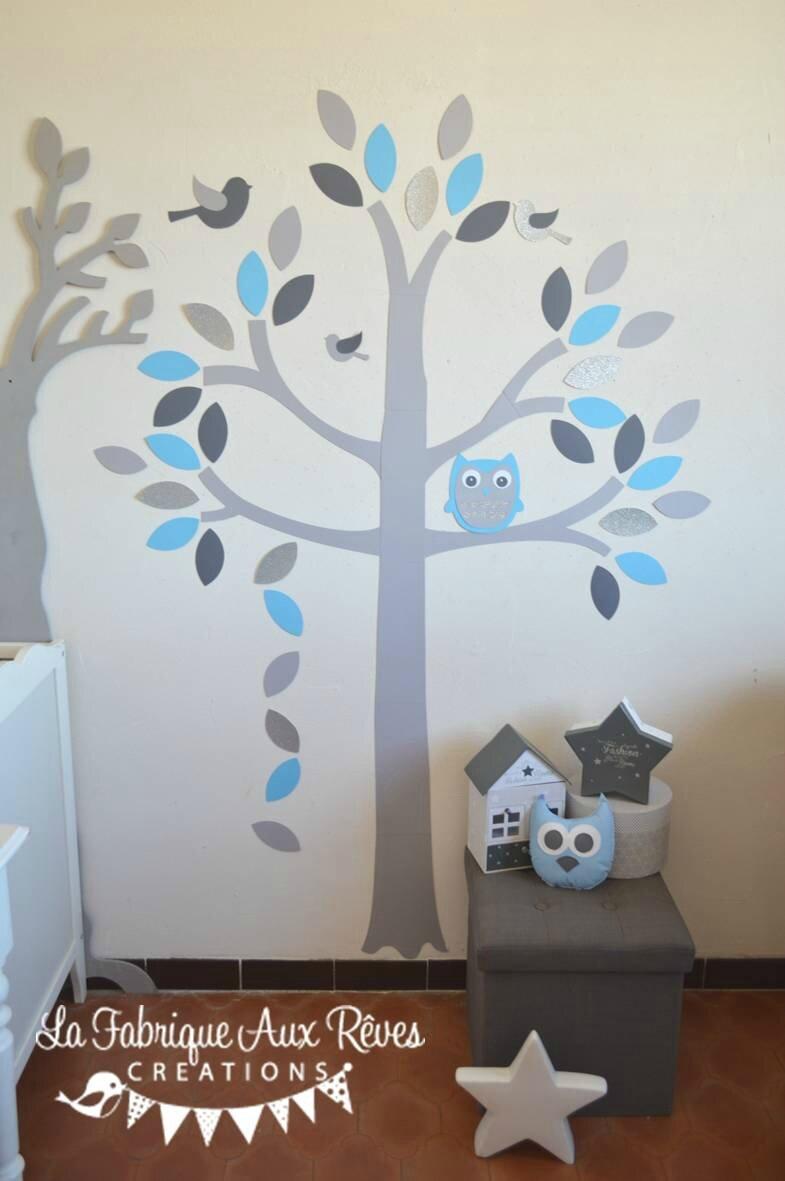stickers arbre gris bleu ciel chaud argent hibou chouette oiseaux feuilles  dcoration chambre