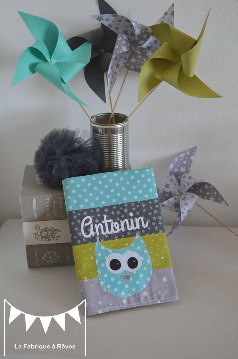 protege carnet sant patchwork tissus turquoise anis gris hibou chouette  Photo de 4  Protges