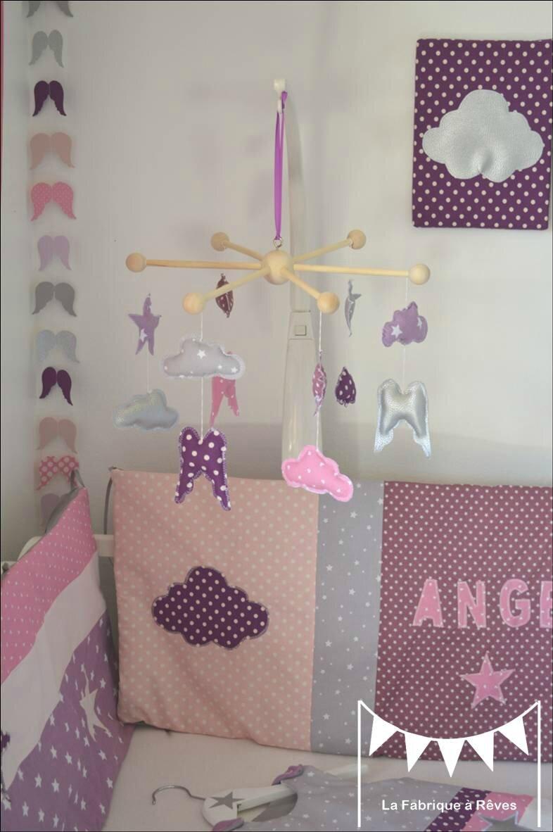 mobile toiles ailes ange nuage dcoration chambre bb fille mauve violet parme rose argent 4