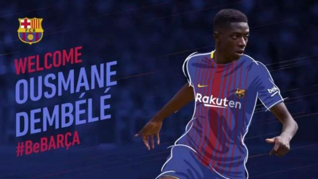 2º lugar: Dembelé - Borússia Dortmundo para o Barcelona por 105 milhões de euros (R$ 392 milhões) Foto: Reprodução / LANCE!