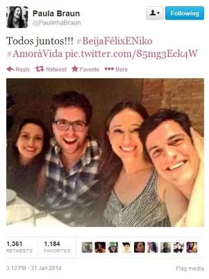 Mariana, Fragoso, Paula e Solano durante exibição do último capítulo de 'Amor à Vida' Foto: Twitter / Reprodução