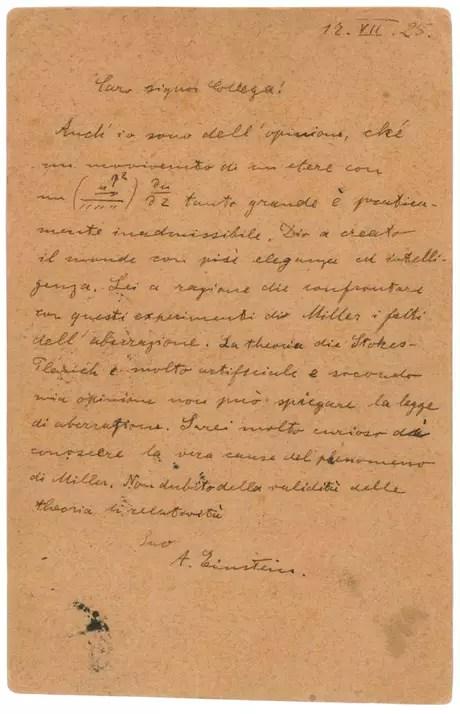 Carta de Einstein deve ser leiloada por US$ 55 mil Foto: RR Auction / Reprodução