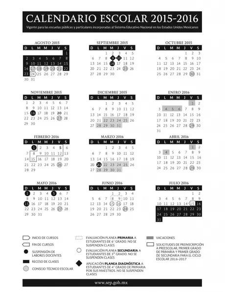 CALENDARIO ESCOLAR 2016 ~ Calendar Page