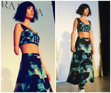 A modelo amputada Shaholly Ayers desfila com e sem a prótese para a grife Alexandra Frida