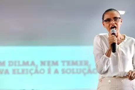 Convocar novo pleito presidencial é mais legítimo do que o impeachment, afirma a ex-ministra Marina Silva, ao participar do lançamento da campanha Nem Dilma Nem Temer, Nova Eleição é a Solução