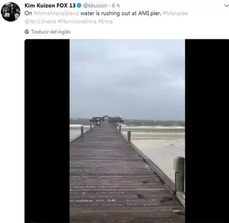 Foto de um píer em Tampa publicado no Twitter por um usuário chamado Kim Kuizon FOX 13