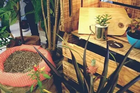 20. Nichos de caixote de feira empilhados. Projeto de Silvia Spolaor