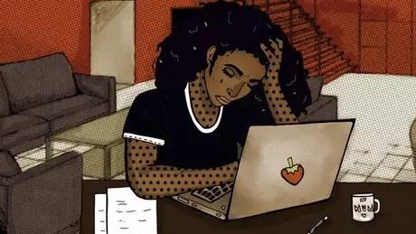 Ilustração de uma mulher lendo e-mails comprometedores no computador do marido