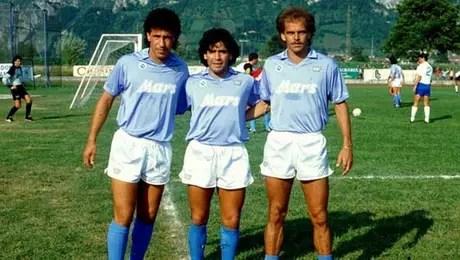 Careca, Maradona e Alemão: trio de sucesso no Napoli