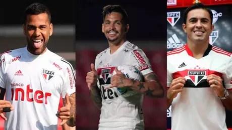 São Paulo teve trio de jogadores com lesões detectadas (Foto: Montagem LANCE!)