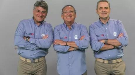 Cléber Machado (à esq.), Galvão Bueno (ao centro) e Luis Roberto (à dir.) são narradores do Grupo Globo (Foto: Divulgação/Globo)
