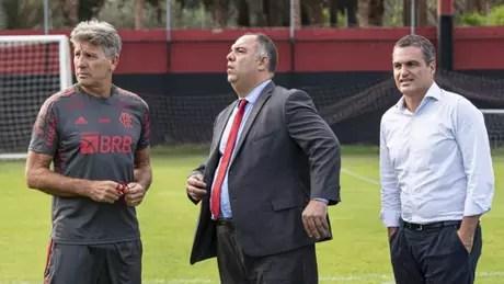 Renato, Braz e Spindel: clube vai enxugando o elenco em 2021 (Foto: Alexandre Vidal/Flamengo)