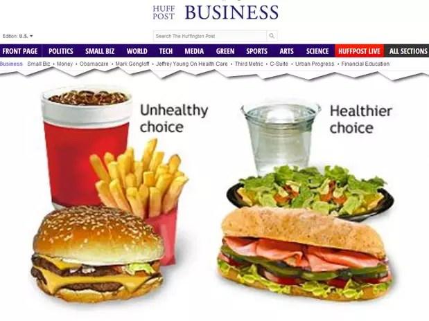 Imagem do texto indica que combo vendido nas lojas da rede é escolha menos saudável Foto: Reprodução