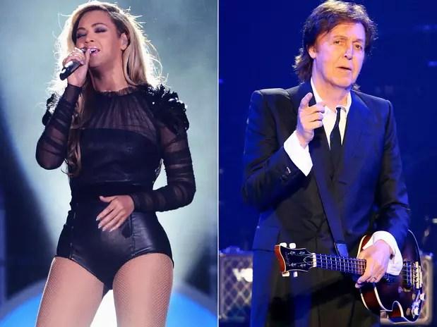 Beyoncé e Paul McCartney, ambos em apresentações realizadas em 2013 Foto: Getty Images