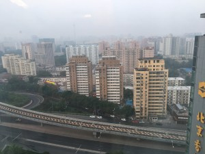 View from our Hotel Room at 4:44am - it gets light here early. China has only one timezone.