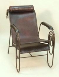 Mid-Century / Art Deco Iron & Leather Lounge Chair : Lot 105