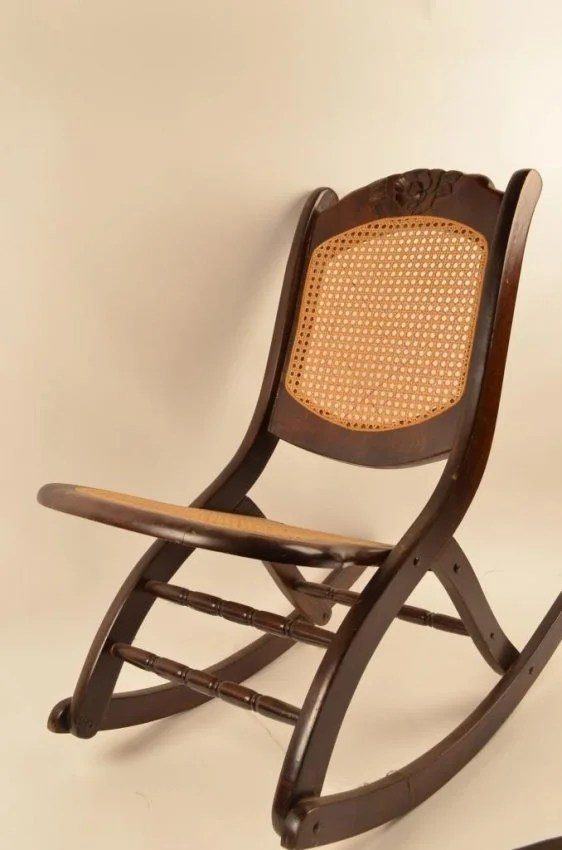 Folding Cane Seat  Back Rocking Chair  Lot 70C