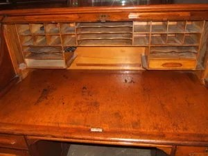 26 Antique Cherry Wood 60quot SRoll Top Desk Signed Lot 26