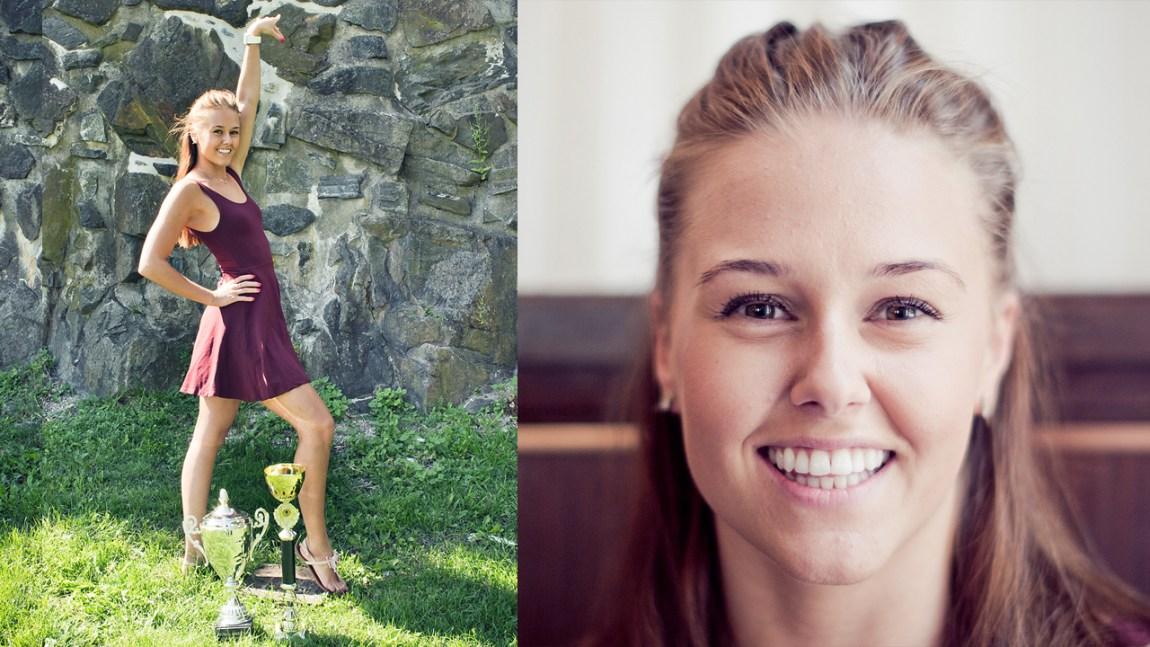 Nina Christine Birkeland med noen av dansepokalene sine. (Foto: Tom Øverlie, NRK)