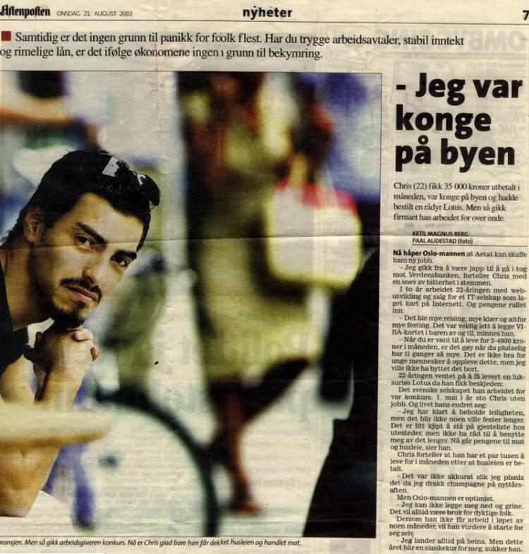 Faksimile fra Aftenposten, 21. august 2002